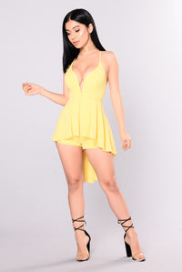 Waiting On A Feeling Romper - Yellow