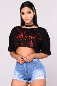 Dirtiest Tee Crop Top - Black/Red