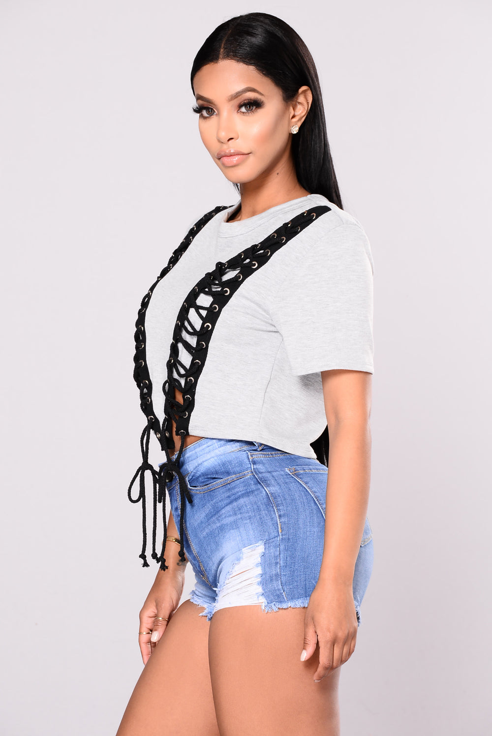 Get In Line Top - Grey/Black