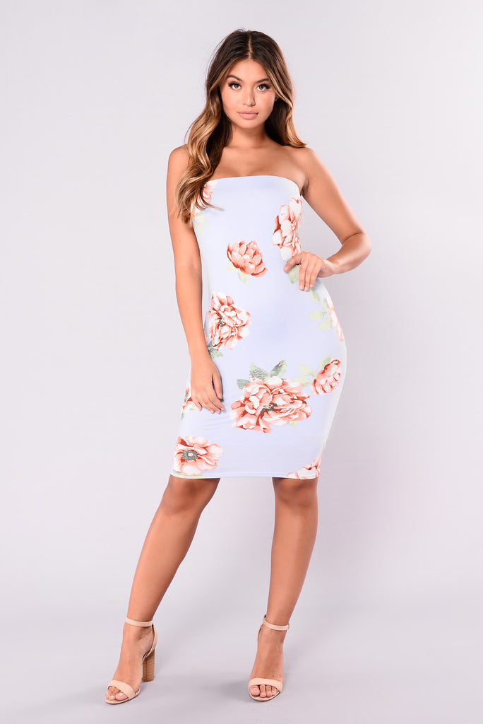 Carlee Printed Dress - Sky Blue