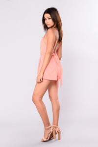 Like A Goddess Pleated Romper - Coral