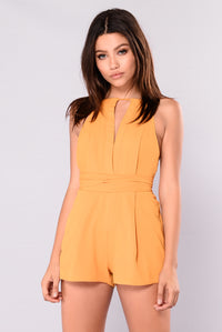 Like A Goddess Pleated Romper - Mustard