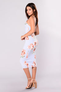 Keyla Printed Dress - Sky Blue