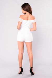 Damsel In Mesh Romper - White