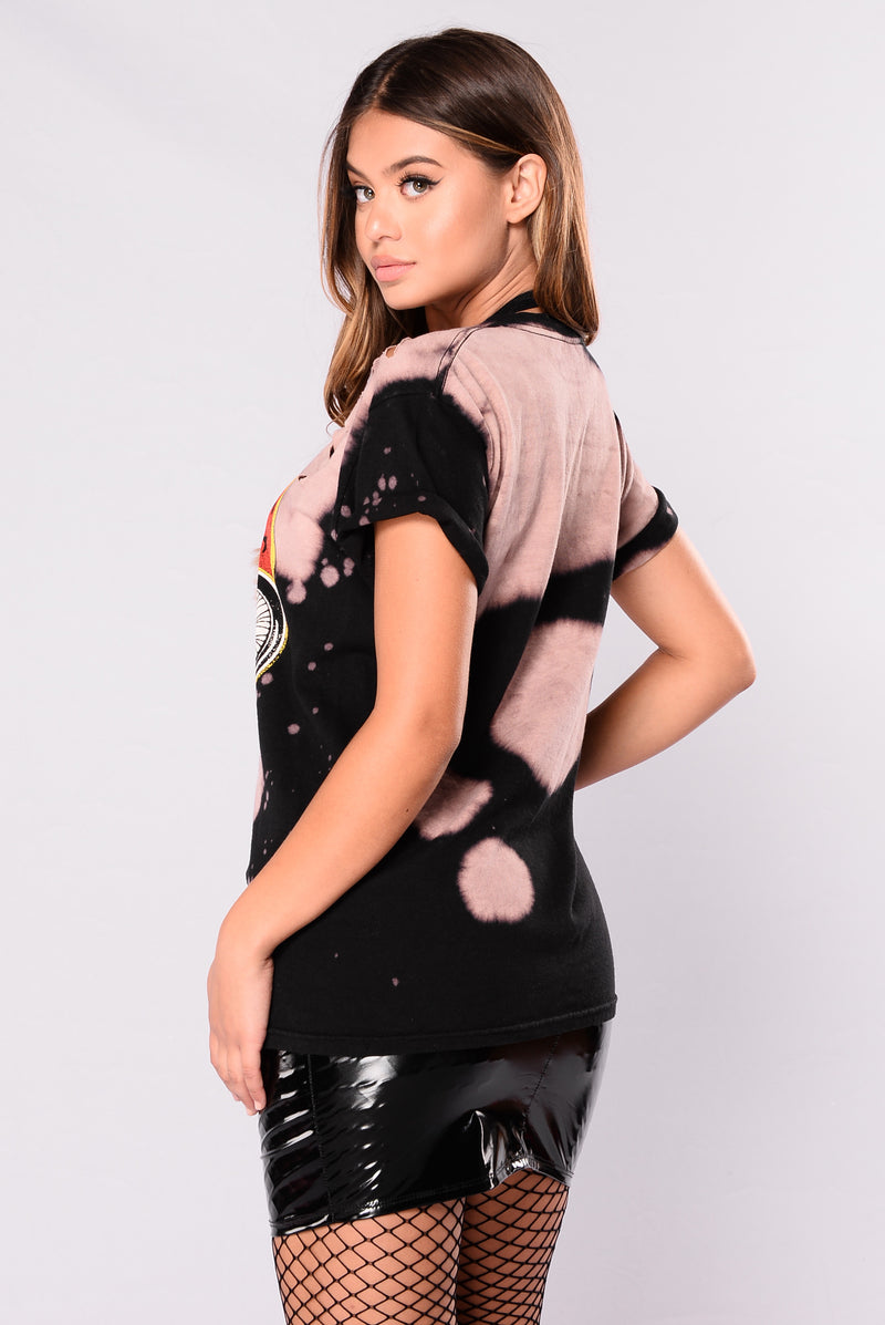 Along For The Ride Top - Black/Taupe