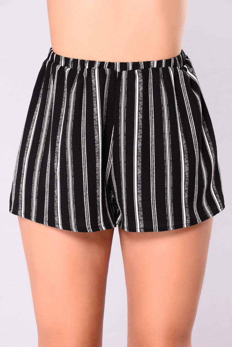 Long Road Ahead Striped Shorts - Black Stripe