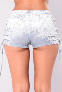 Janessa Crushed Velvet Shorts - Dusty Blue