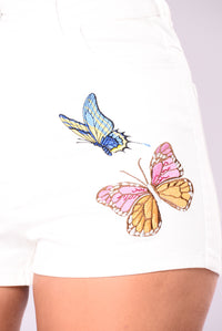 Free The Butterfly Shorts - White