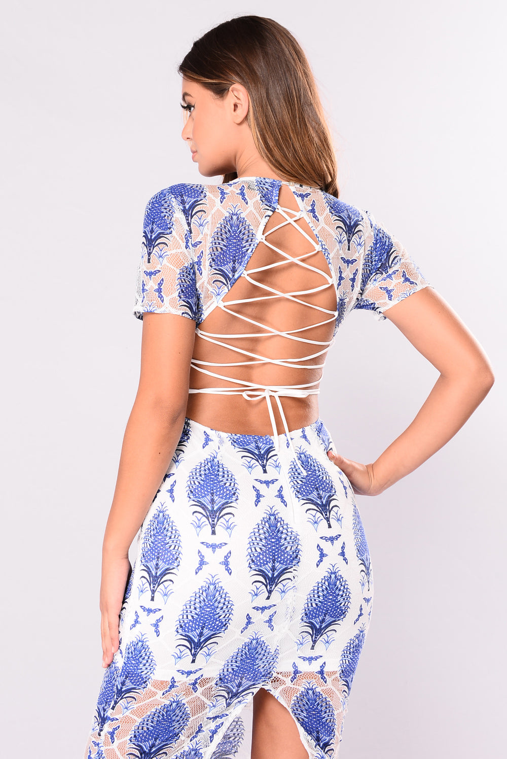 Live Forever Lace Up Dress - Blue