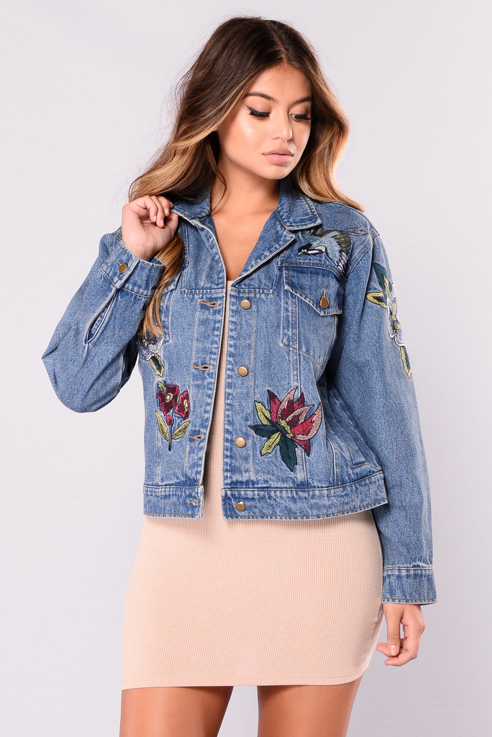 Faded And Floral Jacket - Denim