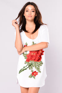 Ryan's Roses Scoop Tunic - White