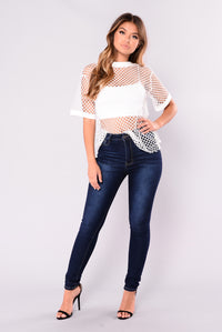 Sheena Fishnet Tee - White