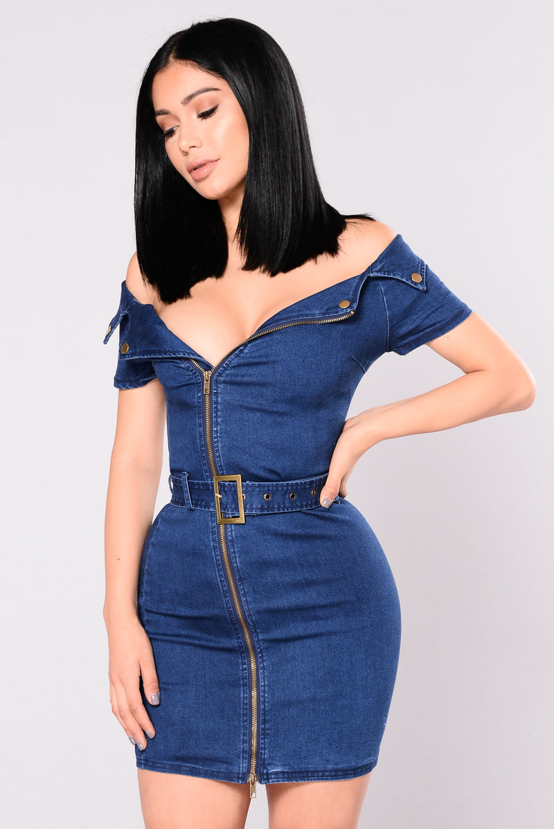 Caught Red Handed Denim Dress - Medium Wash