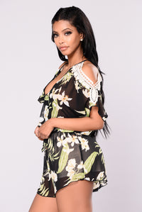 Lost In Paradise Romper - Black Angle 4