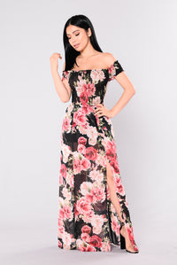 Driving Me Wild Maxi Dress - Black Floral
