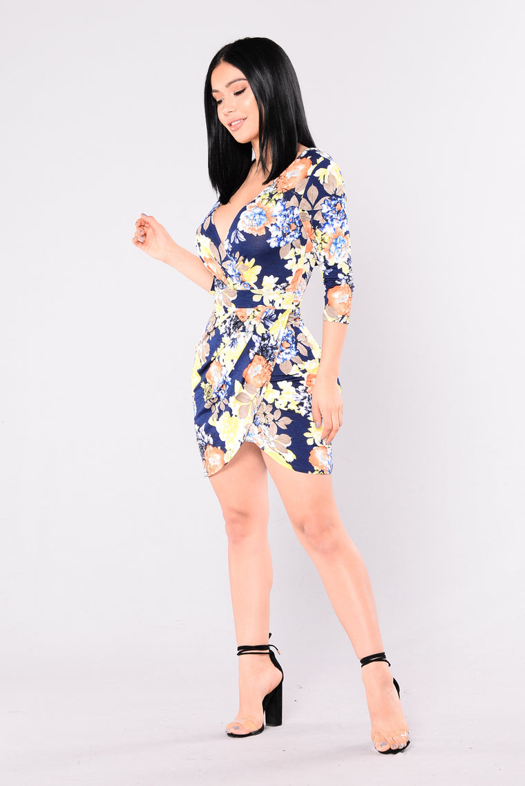 Taste Of Happiness Floral Dress - Navy/Yellow