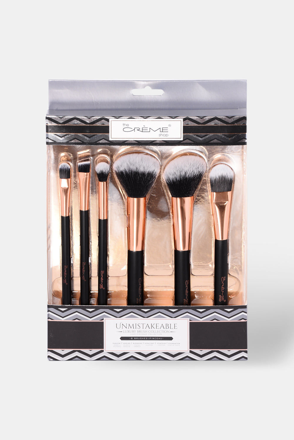 Unmistakable Luxury Six Piece Brush Set - Black/Rosegold