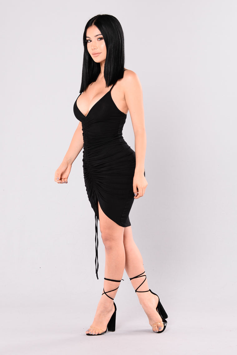 Like A Love Song Ruched Dress - Black