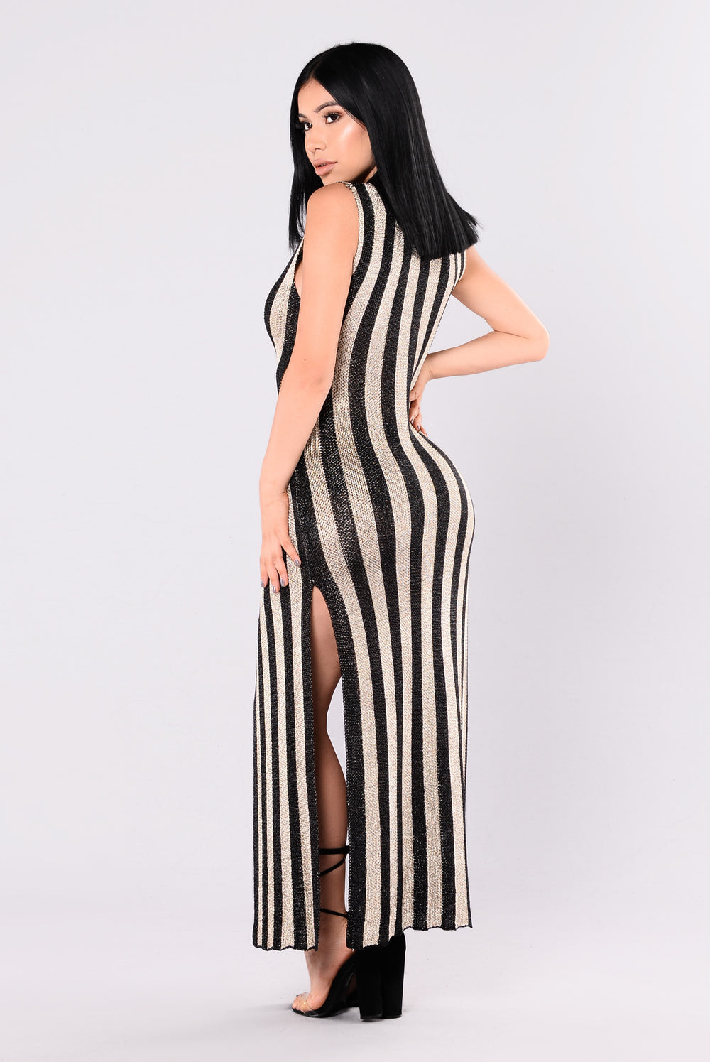 Hollywood Boulevard Striped Dress - Black/Gold