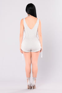 Freya Lace Up Romper - Heather Grey
