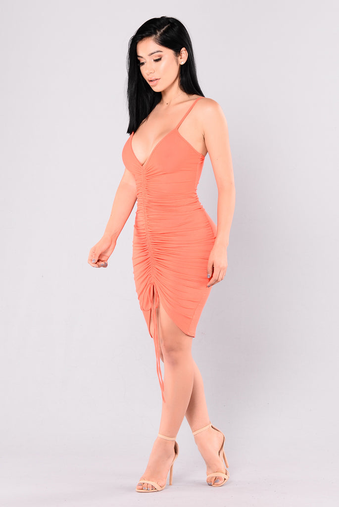 Like A Love Song Ruched Dress - Coral