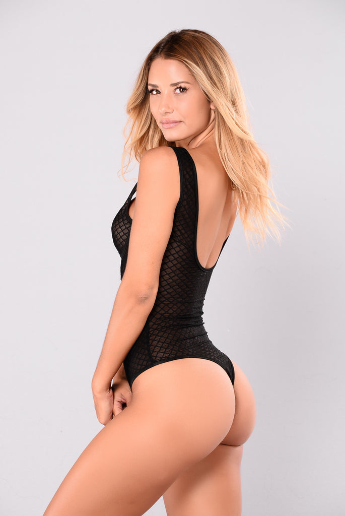 Sweet Love Mesh Bodysuit - Black