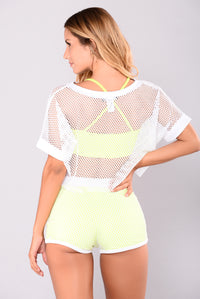 Raina Fishnet Top - White/Yellow