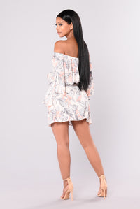 Autumn Flowers Off Shoulder Dress - Cream
