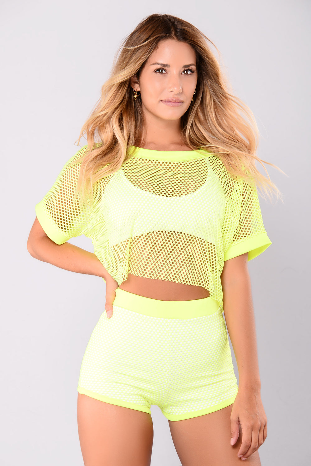 Raina Fishnet Top - Yellow/White