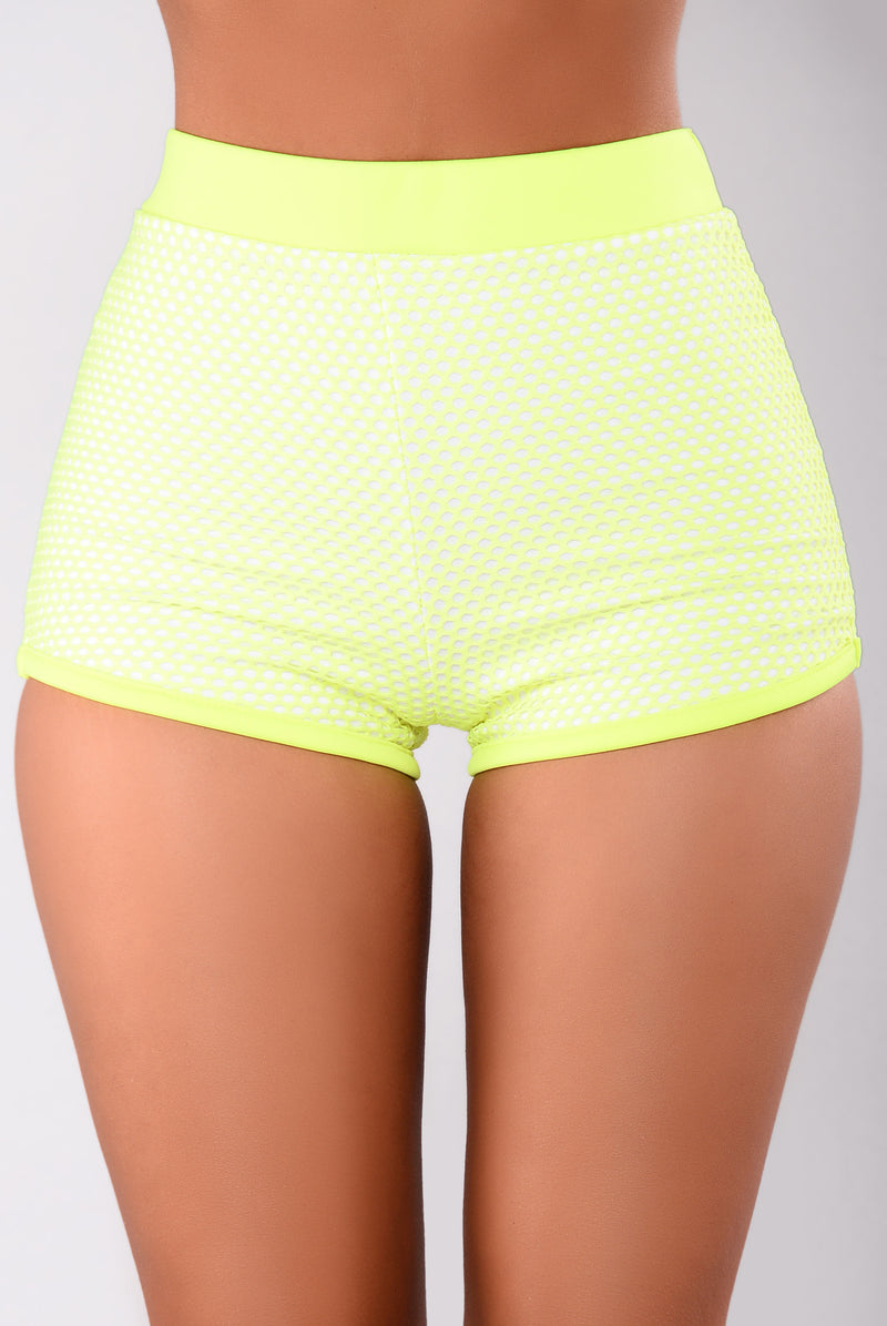 Raina Fishnet Shorts - Yellow/White