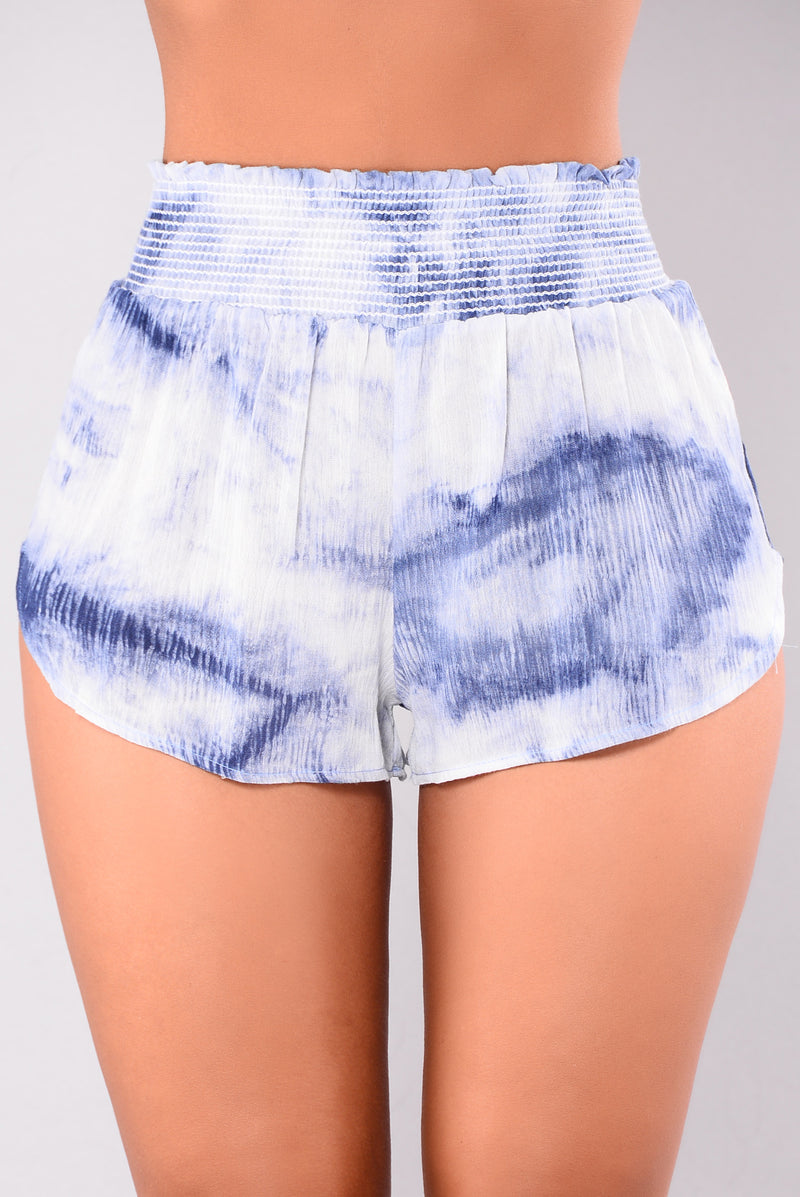Sunken Treasures Tie Dye Shorts - Blue