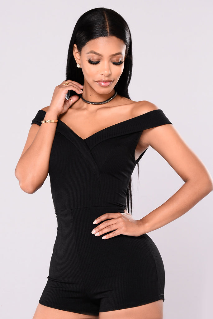 City Of Love Off Shoulder Romper - Black