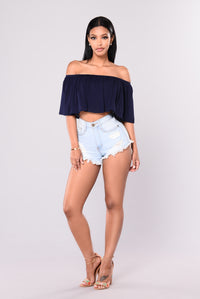 Magari Off Shoulder Top - Navy