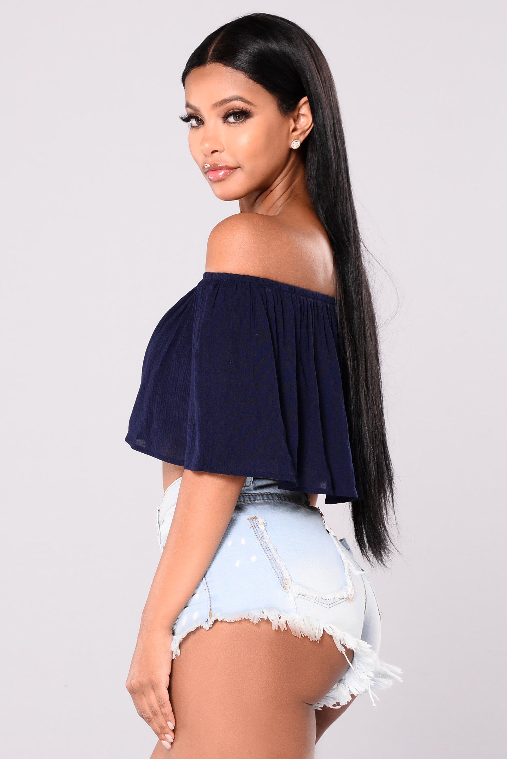 Off Shoulder Top - Navy