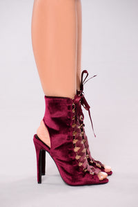 By The Pier Velvet Booties - Wine
