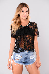 Lap Time Fishnet Tee - Black
