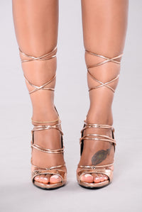 Hello Again Lace Up Heels - Rose Gold Angle 2