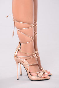 Hello Again Lace Up Heels - Rose Gold Angle 4