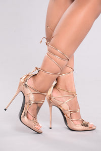 Hello Again Lace Up Heels - Rose Gold Angle 1