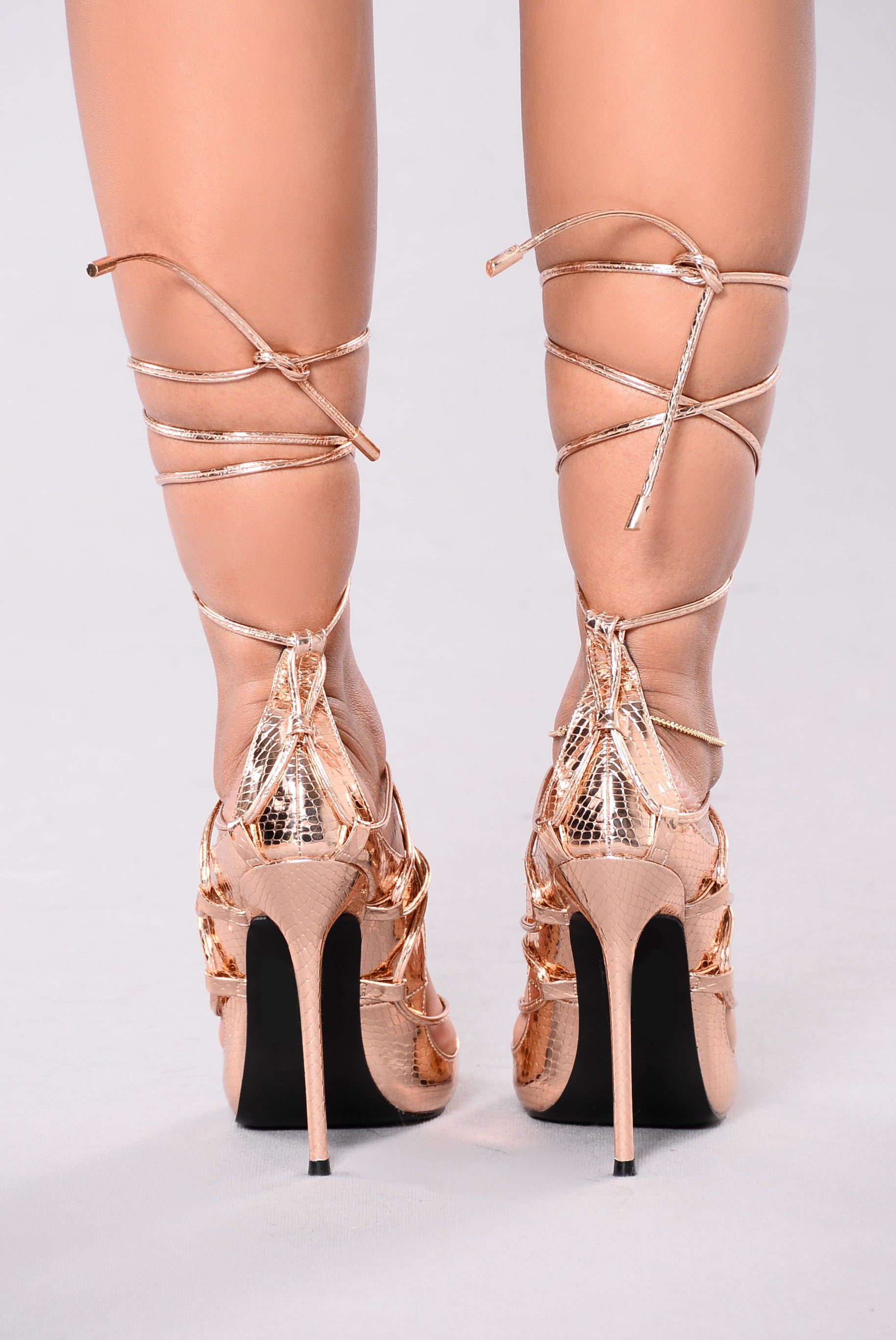 ace5654bb0c7 Hello Again Lace Up Heels - Rose Gold