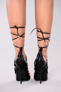 Hello Again Lace Up Heels - Black