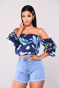 Morning Sunrise Off Shoulder Top - Navy