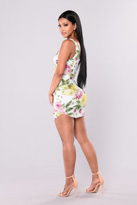 Peonies Floral Dress - Mint