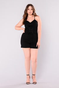 Skating On Thin Ice Romper - Black