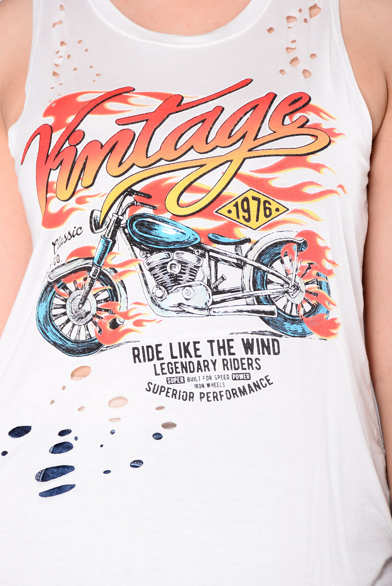 Ride Like The Wind Tank Top - Ivory