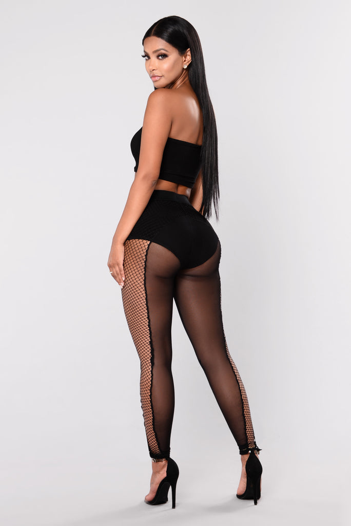Damia Fishnet Leggings - Black
