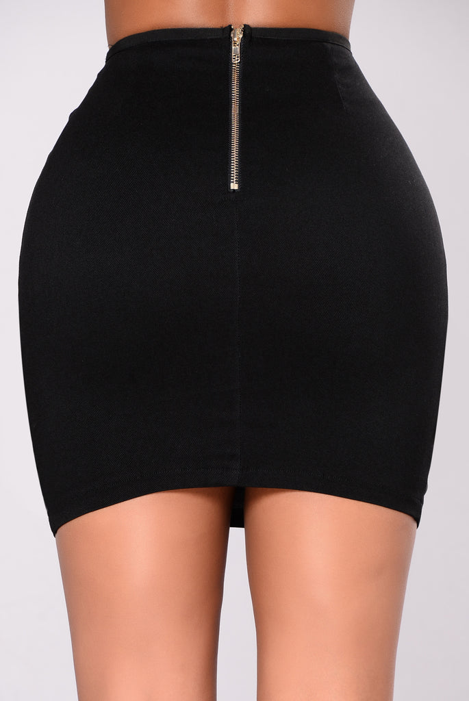 Jessica Lace Up Skirt - Black