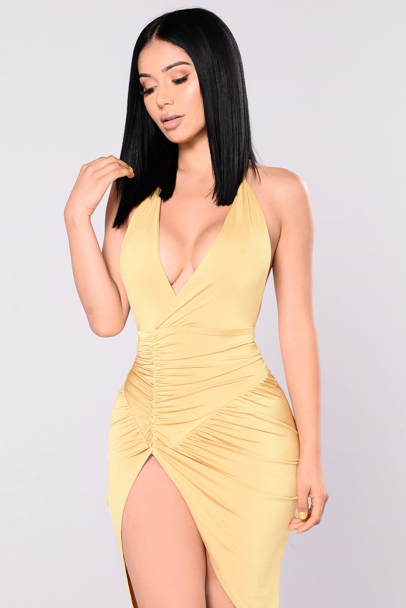 The Grammys Satin Dress - Gold