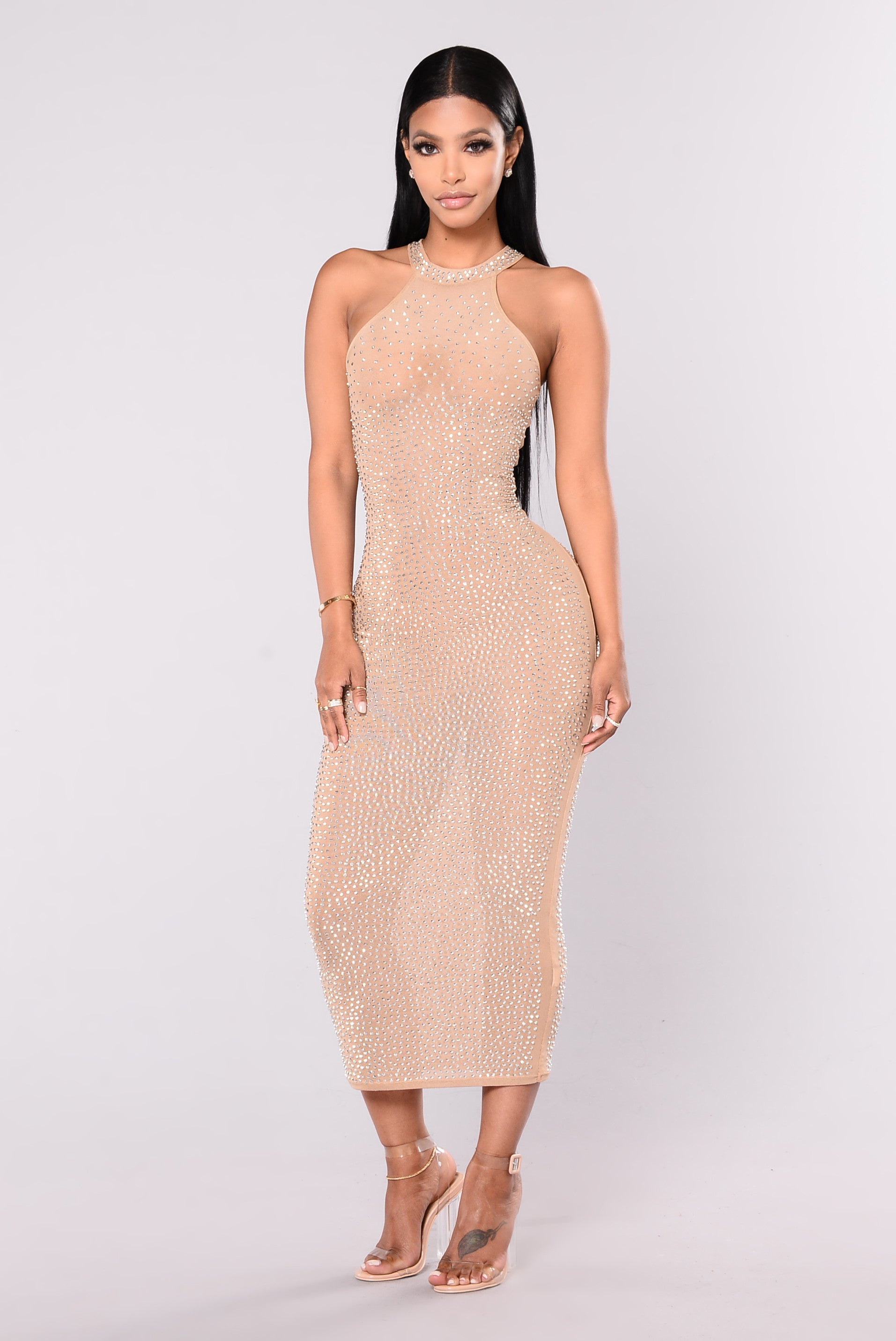 nude fashion Glo Up Rhinestone Dress - Nude