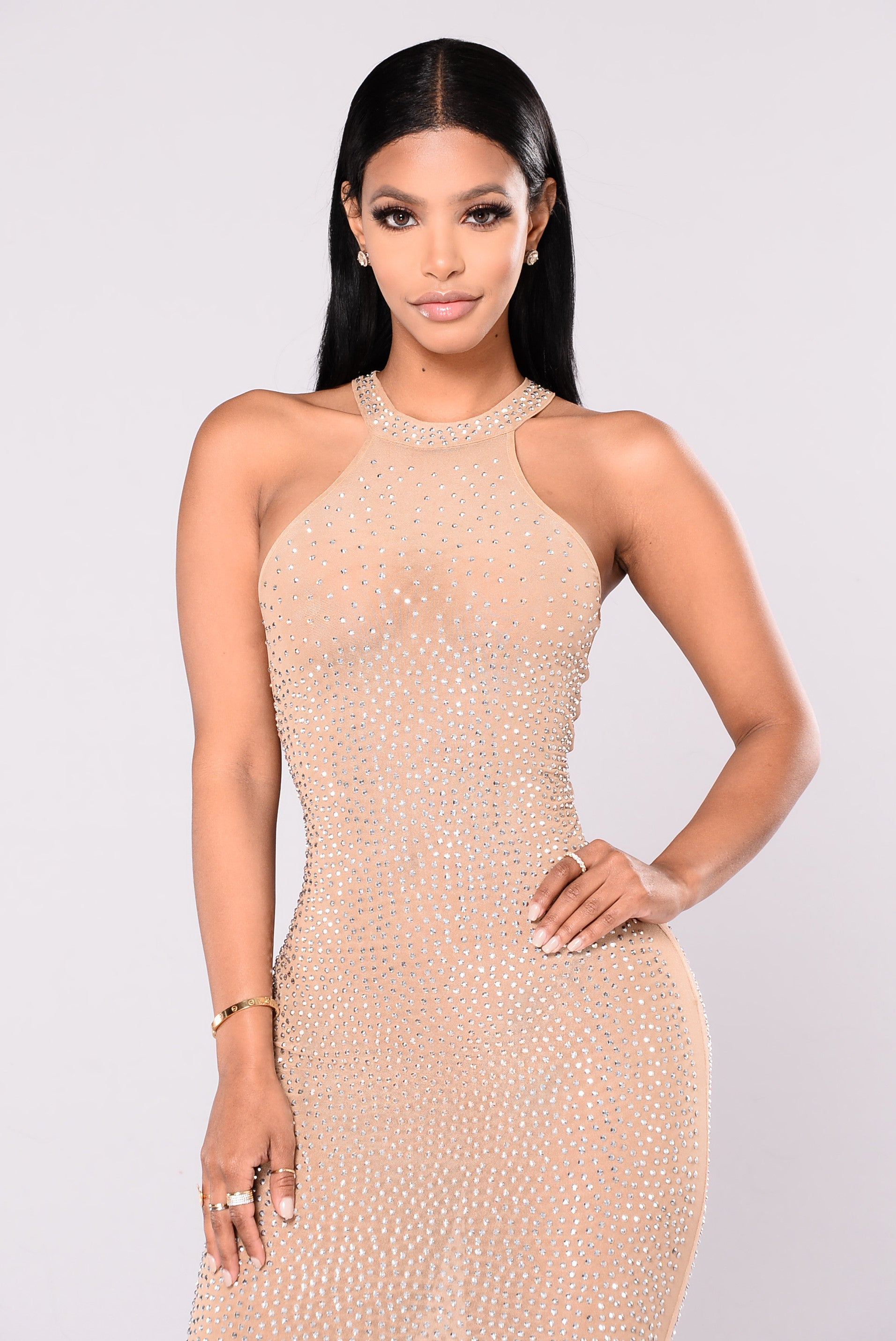 Glo Up Rhinestone Dress - Nude-9873